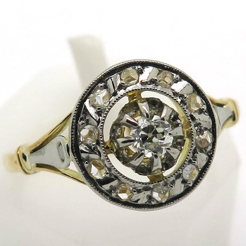 Bien-aimé rosace ancienne platine or jaune diamants 1824 RK88