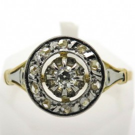 Bague rosace ancienne platine or jaune diamants 1824