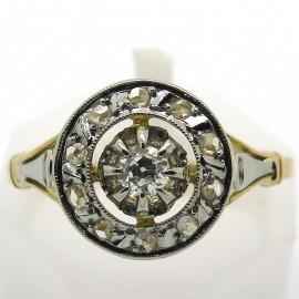 Bague rosace ancienne platine or jaune diamants 1824