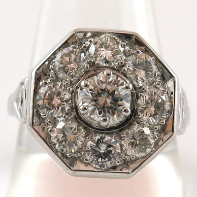 Bague monture octogonale sertie de diamants