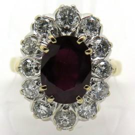 Bague Pompadour rubis entourage douze diamants 2 ors 1811