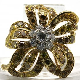 Haute-Joaillerie - Broche vintage diamants jaunes et blancs 176