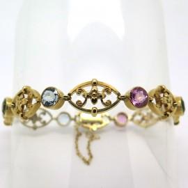 Bracelet ancien en or jaune ajouré et tourmalines 127