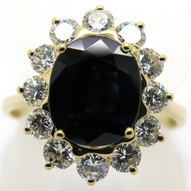 Bague pompadour saphir diamants 1860