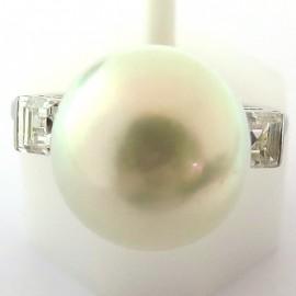 Perle des Mers du Sud – Bague perle diamants sur platine 1632