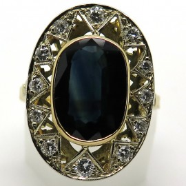 Bague soleil en or jaune saphir et diamants 1868