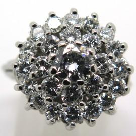 Bague fleur vintage en platine et diamants Lutèce 1869