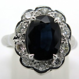 Bague Pompadour saphir diamants or gris Elisabeth 1876
