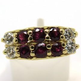 Bague vintage en or rubis et diamants Cardinal Lemoine 1739