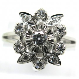 Bague de fiançailles diamants platine or blanc vintage – Sorbonne 1878