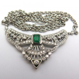 Collier 1920 émeraude et diamants – Saskia 269