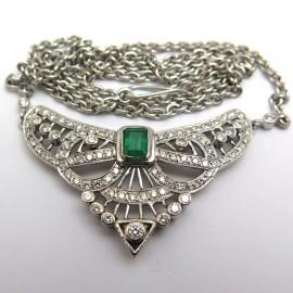 Collier 1920 émeraude et diamants – Saskia 269