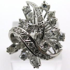 Bague asymétrique des années 1960 en or blanc et diamants - Gemma 1793