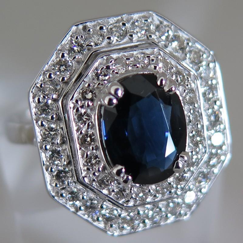 Bien-aimé art déco ancienne saphir diamants monture octogonale or blanc  LF88
