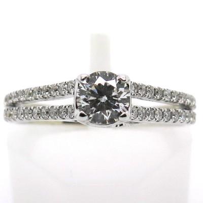Solitaire diamant or blanc double anneau diamanté 1740