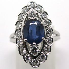 Bague marquise festonnée saphir diamants – Angélique 1814