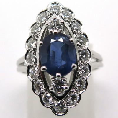 e964ef240ee Bague marquise festonnée saphir diamants – Angélique 1814