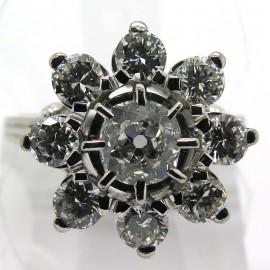 Bague marguerite neuf diamants monture platine or blanc vintage - Modèle Passy 1828