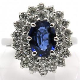 Bague de fiançailles saphir double entourage de diamants – Modèle Paris Seine 1838