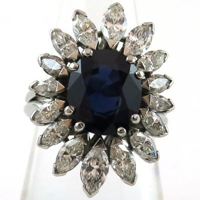 Bague monture en platine saphir et diamants navette 1592
