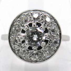 Bague de fiançailles art déco diamants platine or blanc – Modèle Fusion 1821