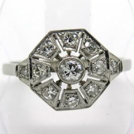 Bague octogonale art déco en platine or blanc et diamants – Albane 1842