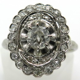 Bague marquise à bouts arrondis diamants platine 1746