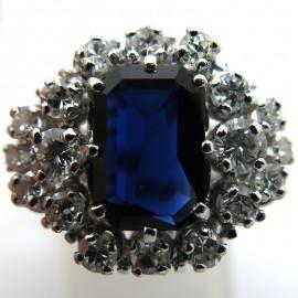 Bague vintage saphir diamants - Charlotte 1820