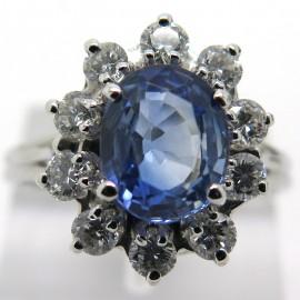 Bague de fiançailles saphir de Ceylan diamants – Bords de Seine 1898
