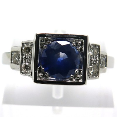 Création de bijoux sur mesure - Bague saphir diamants or blanc – Philomène Thébault 1901