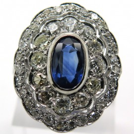 Bague ancienne marquise en saphir et diamants – Modèle 1890 Ile Saint Louis