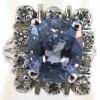 Bague rectangulaire en or gris saphir de Ceylan naturel non chauffé entourage diamants 1566