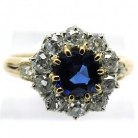 Saphir Birman – Bague saphir Birman naturel entourage diamants – Rivoli 1880