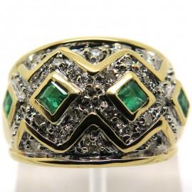 Bague émeraudes diamants or jaune 1904 - Modèle Raspail