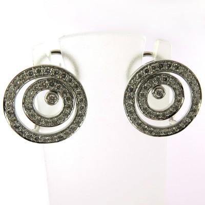 Boucles d'oreilles cercles concentriques diamantés 197