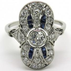 Bague marquise ancienne en platine diamants et pierres bleues Eugénie 1903