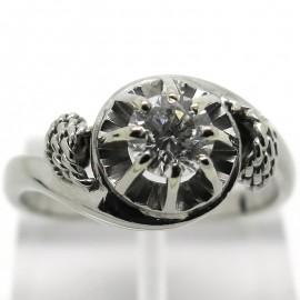 Solitaire diamant 0,38 carat monture tourbillon or blanc Vavin 1915