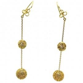 Paire de longs pendants d'oreilles en or jaune Antilles 225
